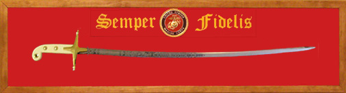 Guns of Liberty US Marine Officer Sword & Display Plaque